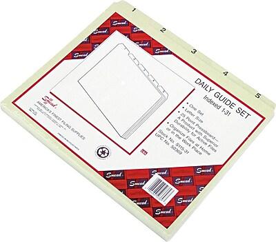 Smead Pressboard Guides, Plain, 1/5-Cut Tab (1-31), Letter Size, Gray/Green, 31 per Set (50369)
