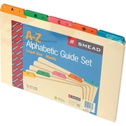 Smead File Guides, A Z, Manila with Vinyl Tabs, 1/5 Cut, 5 Colors, Legal,, 25/St by