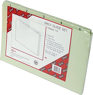 Smead File Guides, Daily 1-31, Pressboard, 1/5 Cut, Self Tab, Legal,, 31/St