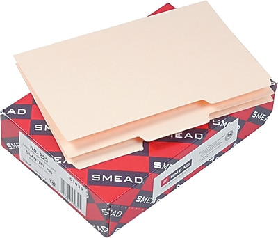 Smead® Recycled Self-Tab Card Guides, Unruled, Manila, 5