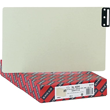 Smead® End Tab 100% Recycled Psbd Guides, Vertical Metal Tab (Blank), Extra Wide Legal Size, Gray/Green, 50 per Box (63235)