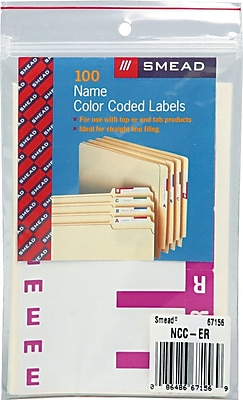 Alphabetical Character Labels, E And R, Purple, 100/Pk