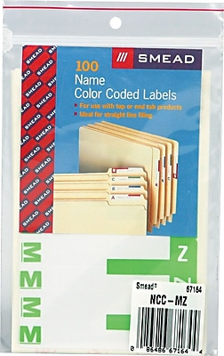 Alphabetical Character Labels, M And Z, Light Green, 100/Pk