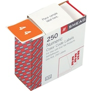 Smead® DCC Color-Coded Numeric Label, 4, Label Roll, Orange, 250 labels per Roll (67424)