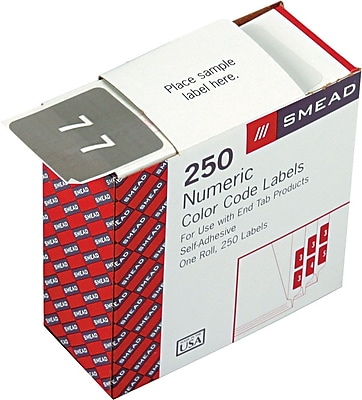 Smead® DCC Color-Coded Numeric Label, 7, Label Roll, Gray, 250 labels per Roll (67427)
