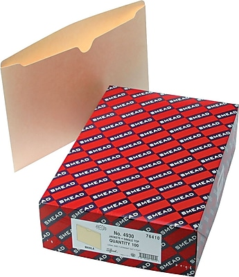 Smead Recycled Manila File Jackets, Single-Ply Tab, Flat, Legal,, 100/Bx