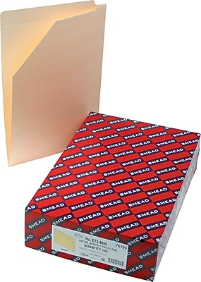 Smead End Tab File Jacket, Reinforced Straight-Cut Tab, Flat-No Expansion, Legal Size, Manila, 100 per Box (76700)