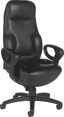 Global Leather Executive Office Chair, Fixed Arms, Black (2424-18BK-D534)