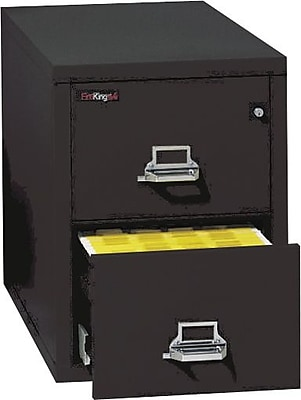 FireKing 1-Hour Fire Resistant Vertical Cabinet, Legal, 2-Dwr, Black, 27 3/4
