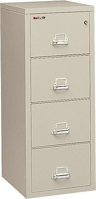 Fire King 2-Hour Fire Resistant Vertical File Cabinet, Legal, 4-Drawer, Parchment, 32 1/16