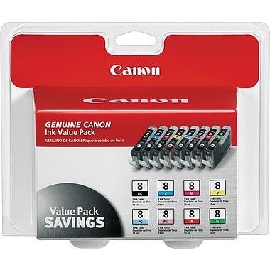 Canon CLI-8 Black and C/M/Y/PC/PM/R/G Color Ink Cartridges (0620B015), Combo 8/Pack