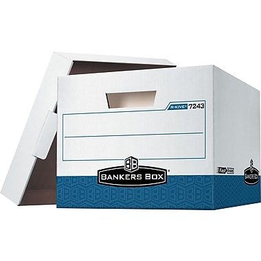 Bankers Box R-KIVE Heavy Duty Storage Box, White/Blue, 4/Pack