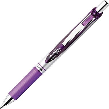 Pentel Energel® Deluxe RTX Retractable Liquid Gel-Ink Pens, Needle Tip, Medium Point, Purple, Dozen
