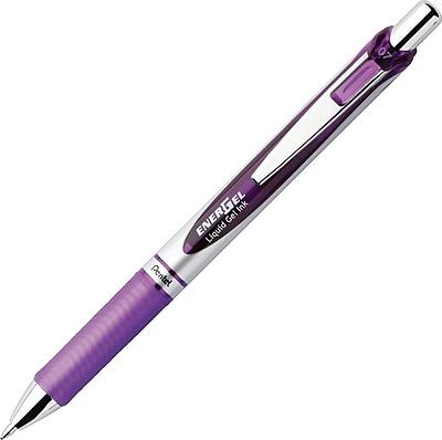 Pentel Energel® Deluxe RTX Retractable Liquid Gel-Ink Pens, Needle Tip, 0.7mm, Violet, Dozen