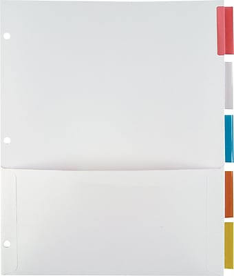 Staples® Pocket Dividers with Insertable Standard Tabs, Multicolor, 5-Tab