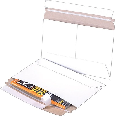 Self-Seal Side Loading Stayflats Mailers, White, 12 1/4