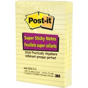 "Post-it® Super Sticky Canary Yellow Notes, 4"" x 6"", Lined, 3 pads/pack"