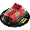 Post-it 1in. 'Sign Here' Message Flags, Red, 200 Flags/Desk Grip Dispenser (680-HVSHR)