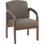 Office Star™ Wood Guest Chair, Mahogany Finish Wood with Taupe Fabric