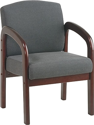 Office Star Wood Visitor's Chair, Mahogany Wood with Graphite Fabric, Seat: 21