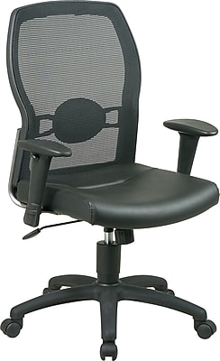 Office Star Leather Managers Office Chair Adjustable Arms Black