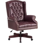Office Star High-Back Jamestown Vinyl Traditional Queen Anne Executive Chair, Closed Arms, Burgundy