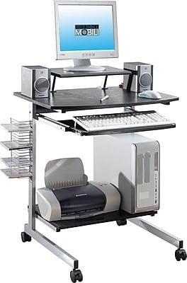 Techni Mobili Compact Computer Cart With Storage, Espresso