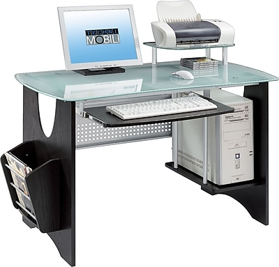 Techni Mobili Frosted Glass Top Computer Desk With Storage, Espresso.  Rollover Image To Zoom In. Https://www.staples 3p.com/s7/is/