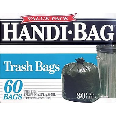 Webster® Handi-Bag Recycled Trash Bags; Black, 30 Gallon, 60 Bags/Box