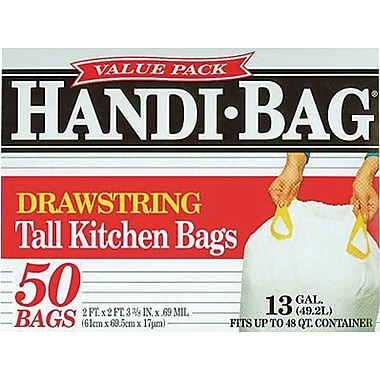Webster® Handi-Bag Recycled Trash Bags; White, 13 Gallon, 50 Bags/Box