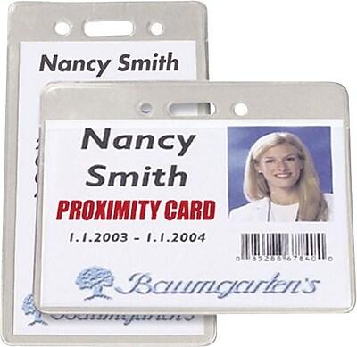 Baumgartens® 47820 Vertical Badge Holder, Clear, 50/Pack