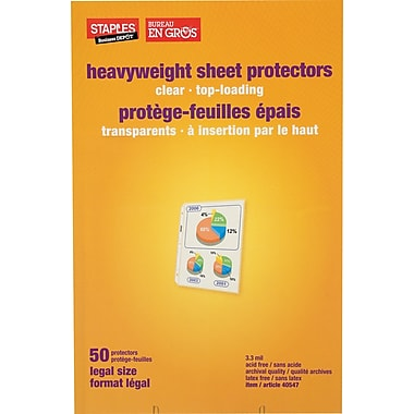 Staples® Legal Size Sheet Protector, Mfr's# 75287, Clear