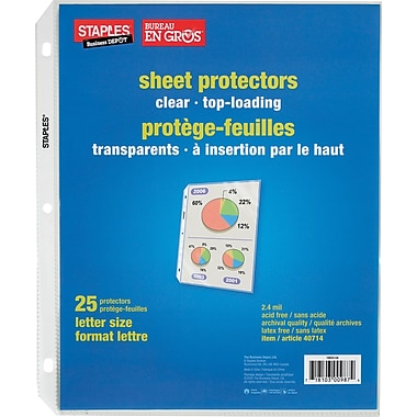 Staples® Standard Clear Sheet Protectors, 25-Pack