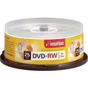 Imation DVD-RW Discs, Spindle, 4x, 4.7GB, 120-Minute, 25/Pk