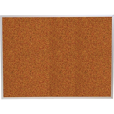 Best-Rite Red Splash Cork Bulletin Board, Aluminum Trim Frame, 3' x 2'