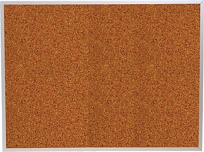 Best-Rite Red Splash Cork Bulletin Board, Aluminum Trim Frame, 6' x 4'