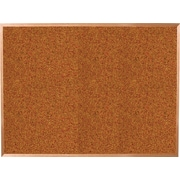 Best-Rite® 4' x 3' Red Splash Cork Bulletin Board with Oak Finish Frame