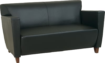 Office Star™ Black Leather Loveseat