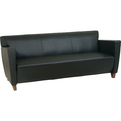 Office Star Leather Sofa, Black (SL8473)