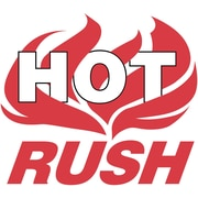 "Shipping Label, Hot Rush, 4"" x 4"", Red/White, 500/Roll"