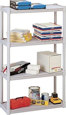 Iceberg Rough n Ready Plastic Shelving, 4 Shelves, Platinum, 54