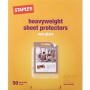 "Staples® Heavyweight Sheet Protectors, Clear, 11"" x 8 1/2"", 50/Pk"