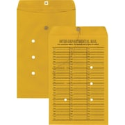 "Staples Button-and-String Inter-Departmental Kraft Envelopes, 10"" x 15"", Brown, 100/Box (511291/99886)"