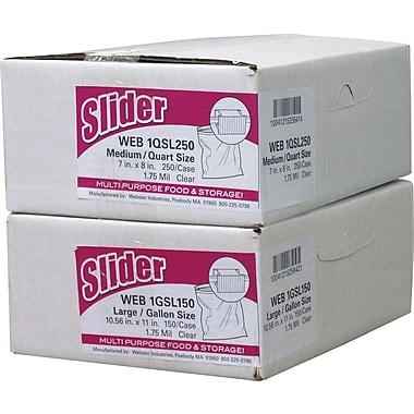 Webster® Slider Storage Bags, Clear, 1.75 Mil