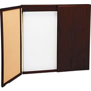 "Balt® Wood Conference Room Cabinet, Dry-Erase/Cork Boards, 48"" x 48"", Mahogany"