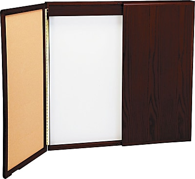 Best-Rite Wood 2-Door Conference Cabinet with Magnetic Dry Erase Whiteboard and Bulletin Board, Cherry Oak, 4'W x 4'H