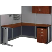 "Bush Business Furniture Office in an Hour 65""W x 65""D L Shaped Cubicle Workstation with Storage, Hansen Cherry (WC36494-03STGK)"