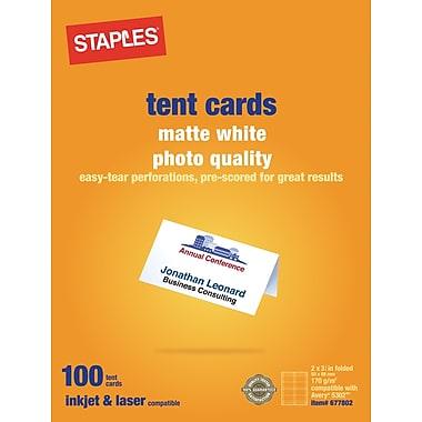 Staples 14634 cc laser inkjet tent cards matte white for Staples brand business cards template