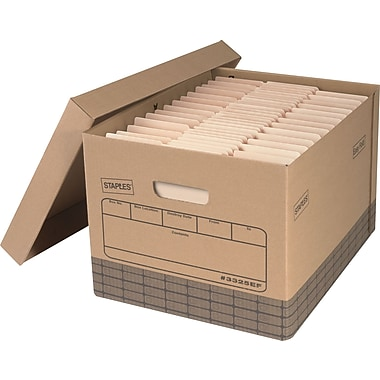 Staples Medium Duty 100% Recycled Storage Boxes, Letter/Legal Size, 12 Pack