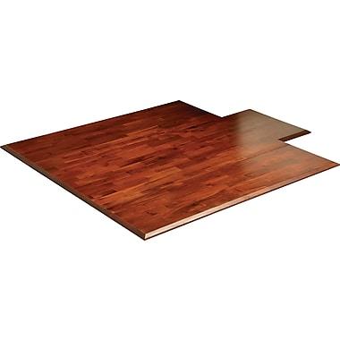 Anji Mountain Deluxe Roll-Up 57''x55'' Bamboo Chair Mat for Carpet, Rectangular w/Lip, Dark Cherry (AMB24025W)